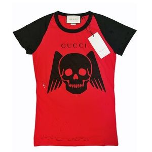 GUCCI Red and Black Distressed Skull T-Shirt NWT